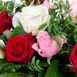 Boeket Romy rood-roze-wit